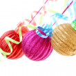Christmas balls hanging with ribbons isolated on white — Zdjęcie stockowe