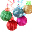Christmas balls hanging with ribbons isolated on white — Stock Photo #6788393