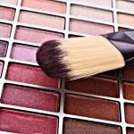 Brush and eye shadows — Stock Photo