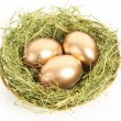 Three golden hen's eggs in the grassy nest isolated on white — Stockfoto