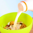 Muesli with milk on blue background — Stock Photo