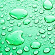 Green water drops background — Stock Photo