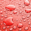 Red water drops background — Foto de Stock