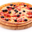 Pizza with olives on wooden plate isolated on white — Stock Photo