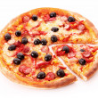 Sliced pizza with olives isolated on white — Stock Photo