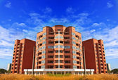 Apartments flats in high rise building in brick with beautiful — Stockfoto