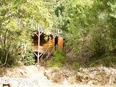 деревянный дом в зеленые деревья — Стоковое фото