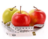 Apples and a measure tape, diet concept — Stock Photo
