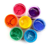Colorido vibrantes latas de guache isolado no branco — Foto Stock