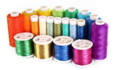 Semicircle of many-coloured bobbins of thread isolated on white — Stock Photo