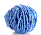 Blue ball of woollen red thread isolated on white — Stock Photo