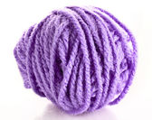 Purple ball of woollen red thread isolated on white — Stock Photo