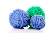 Balls of woollen thread isolated on white — Stock Photo