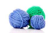 Balls of woollen thread isolated on white — Stock Photo