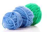 Blue balls of woollen thread isolated on white — Stock Photo