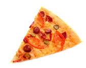 Peace of Tasty Italian pizza over white — Стоковое фото