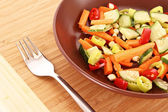 Vegetables mix in plate with fork — Foto Stock