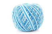 Blue Wool ball isolated on white — Stock Photo