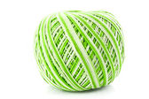 Green Wool ball isolated on white — Stock Photo