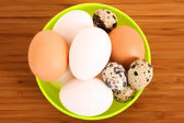 Group of brown and white hen's and quail spotted eggs in the pla — Stock Photo