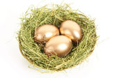 Three golden hen's eggs in the grassy nest isolated on white — Stock Photo