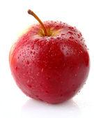Czerwone jabłko na białym tle biały z kropli wody — Zdjęcie stockowe