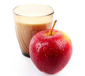 Glass with milk and apple — Stock Photo