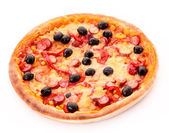 Tasty Italian pizza over white . View from above — Stock Photo