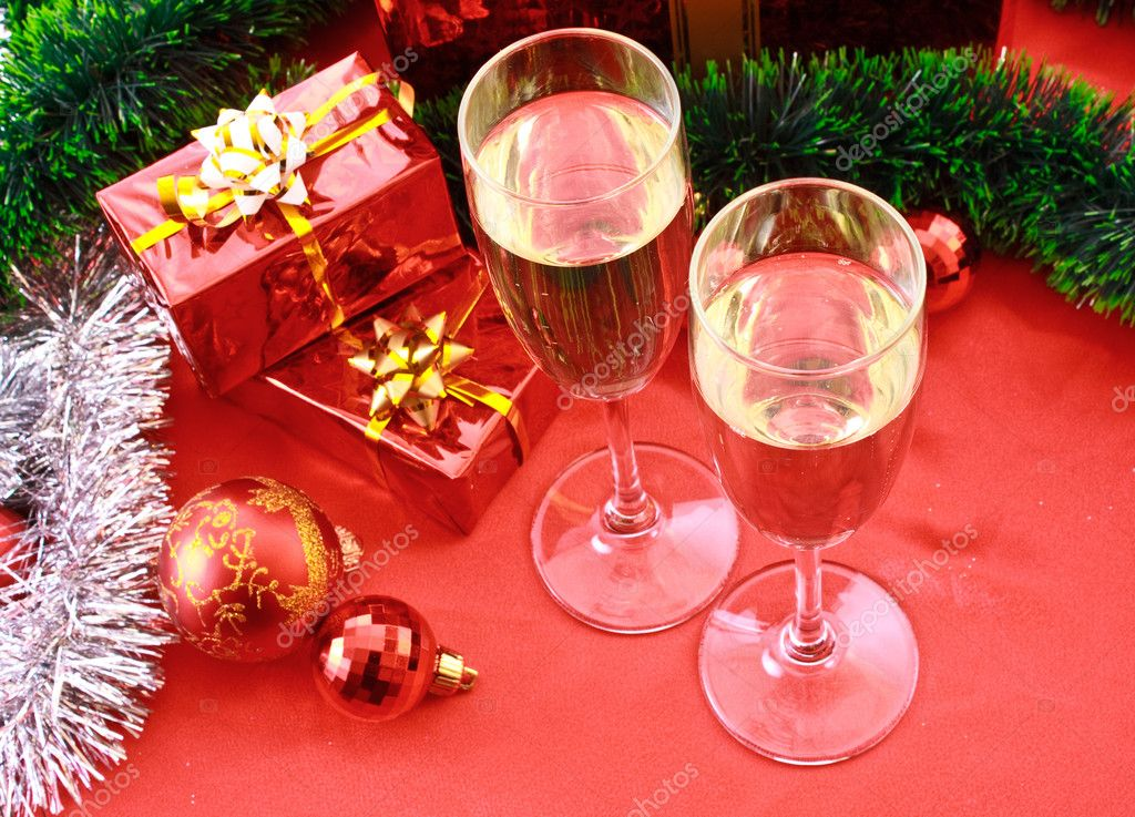 Two glasses of champagne and Christmas decoration  Stock Photo #6780751