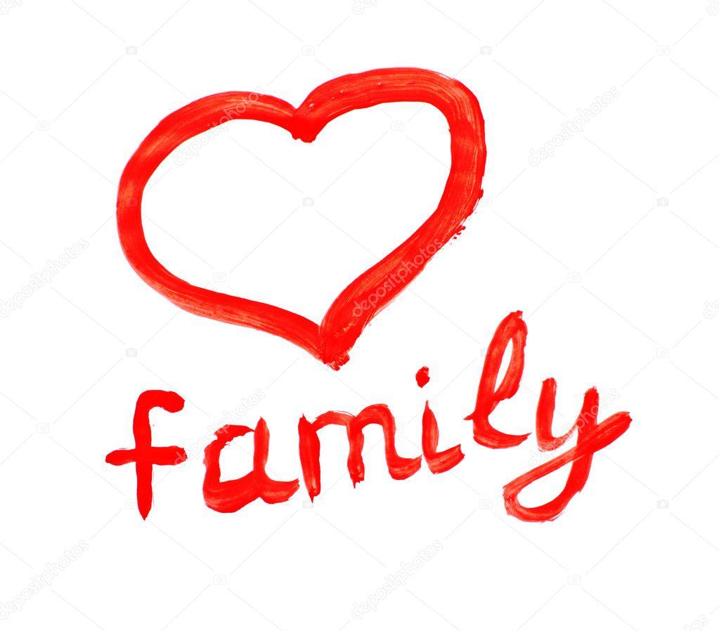familie zeichnung und herz symbol isoliert auf weiss stockfoto belchonock 6782353. Black Bedroom Furniture Sets. Home Design Ideas