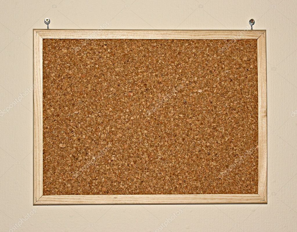 Cork board on wall stock photo belchonock 6783336 for How to make a bulletin board wall