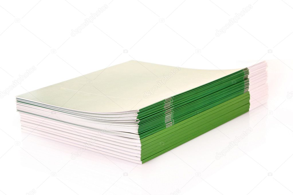 Pile of green journals isolated on white — Stock Photo #6783721