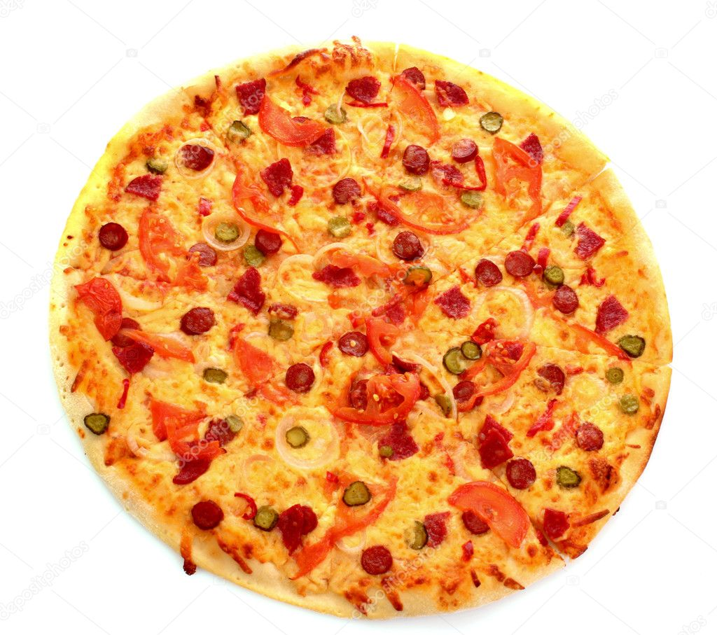 Tasty Italian pizza over white  Stock Photo #6785434
