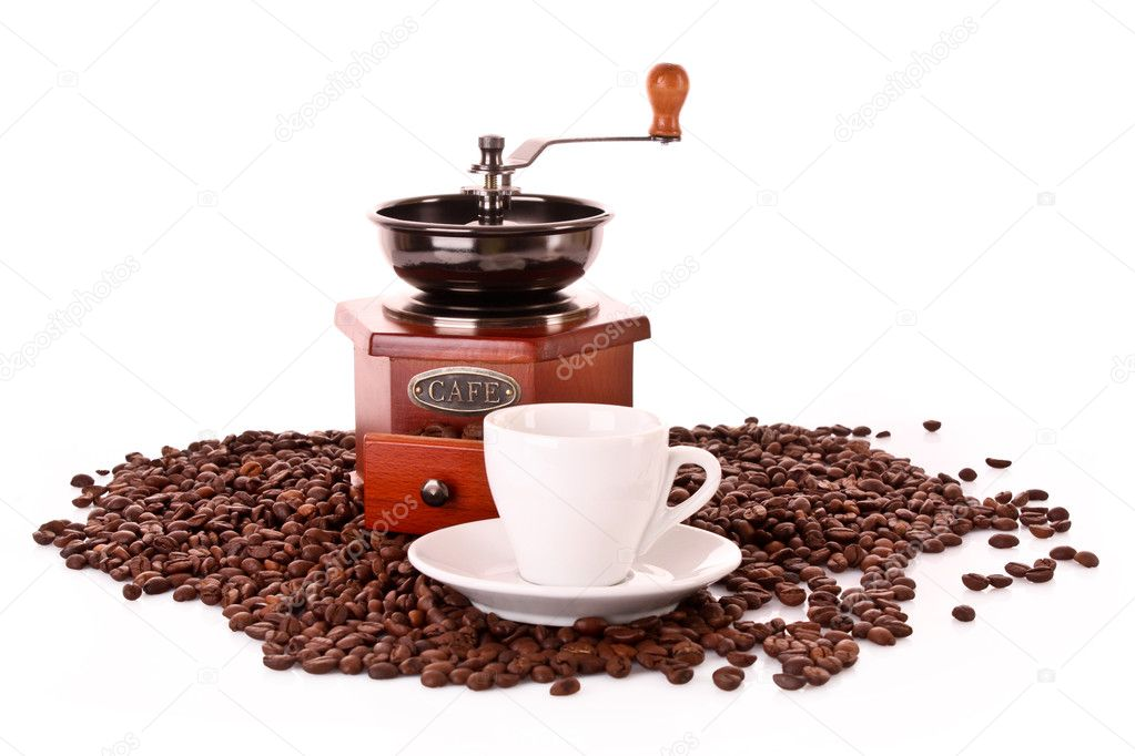 Coffee Grinder and cup isolated on white  Stock Photo #6785912