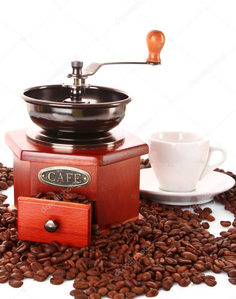 Coffee Grinder and cup isolated on white — Stock Photo #6785915