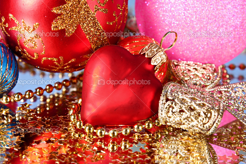Coloured sparkling decorations for new year's tree — Stock Photo #6786222