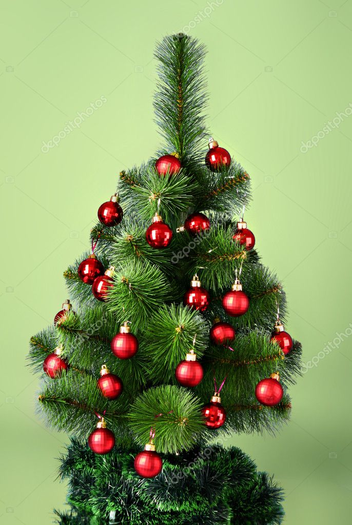 Christmas tree with glass red balls — Stock Photo #6786363
