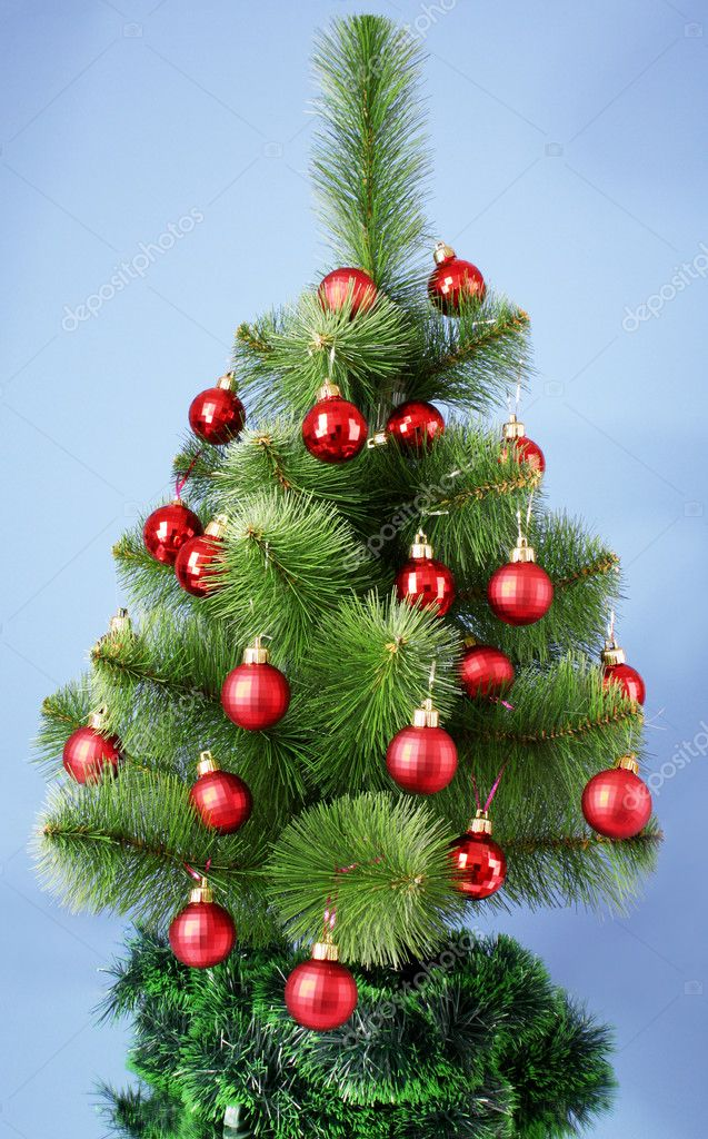 Christmas tree with glass red balls  Stock Photo #6786369