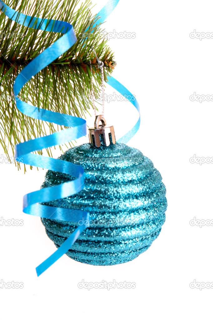 Christmas balls hanging with ribbons on fir tree — Stock Photo #6788197
