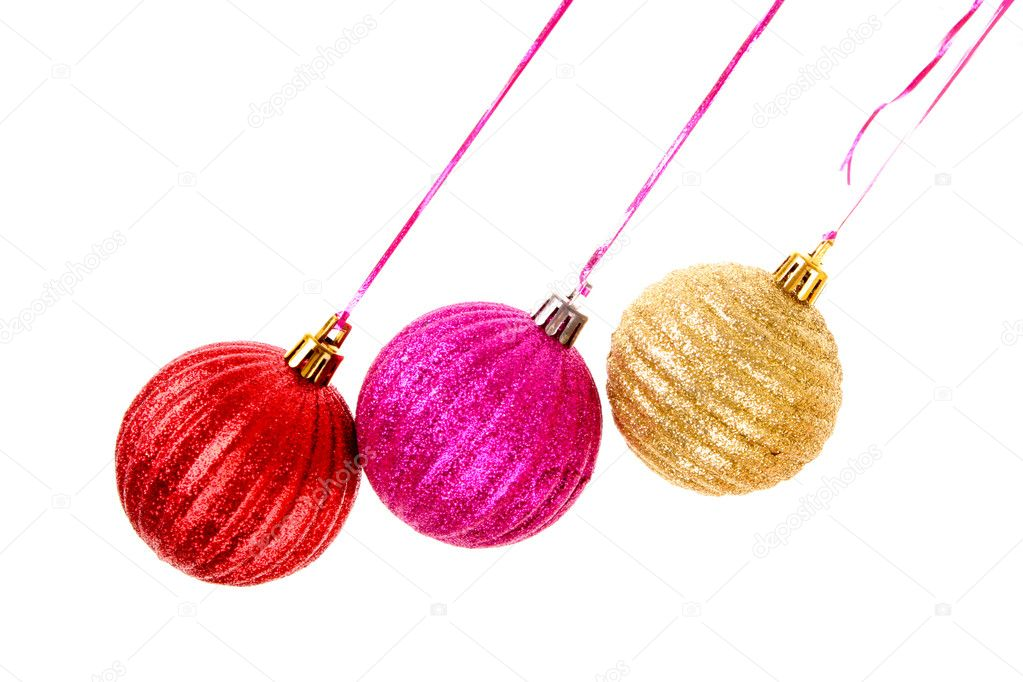 Christmas balls hanging with ribbons isolated on white — Stock Photo #6788326