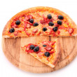 Pizza with olives on wooden plate isolated on white — Stock Photo #6790049