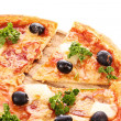 Pizza with olives isolated on white — Stock Photo