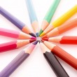 Color pencils on white background — Stock Photo