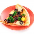 Pizza with olives on plate isolated on white — Stock Photo #6790299