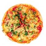 Пицца, изолированные на белом фоне — Стоковое фото