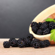 Royalty-Free Stock Photo: Beautiful blackberries in wooden bowl