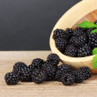 Beautiful blackberries in wooden bowl — Stock Photo