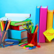 Royalty-Free Stock Photo: Bright stationery and books