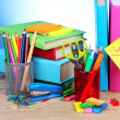 Stock Photo: Bright stationery and books