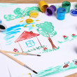 Children's drawings and paint — Stockfoto